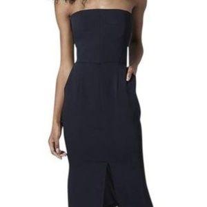 Topshop Black Strapless Bandeau Pocket Midi Dress